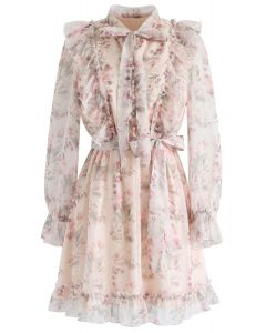 Floral Watercolor Bowknot Ruffle Dress