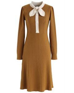 Self-Tied Bowknot Neck Knit Midi Dress in Mustard
