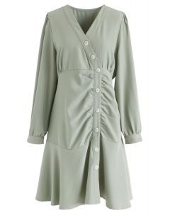 Button Front Sleeves Midi Dress in Pea Green