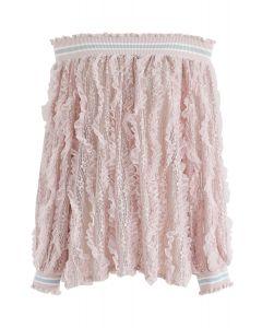 Off-Shoulder Floral Lace Top in Pink