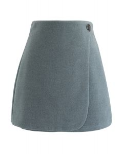 Button Decorated Flap Mini Skirt in Teal