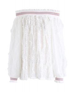 Off-Shoulder Floral Lace Top in White