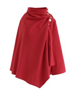 Asymmetric Hem Button Wrap Cape Coat in Red