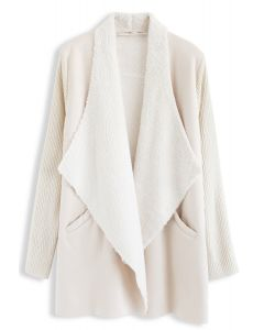 Open Front Faux Fur Suede Drape Coat in Cream