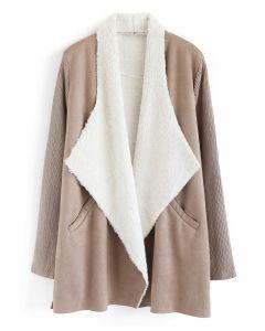 Open Front Faux Fur Suede Drape Coat in Tan