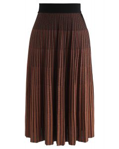 Contrasted Color Reversible Knit Skirt in Caramel