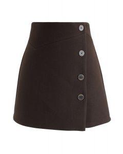 Basic Texture Button Trim Mini Skirt in Brown