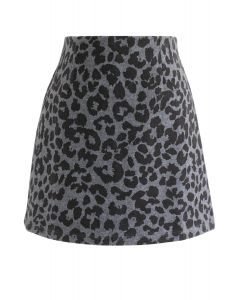 Leopard Print Wool-Blended Bud Skirt in Smoke