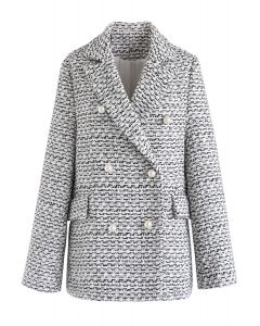 Pearl Buttons Trimmed Tweed Blazer in Black