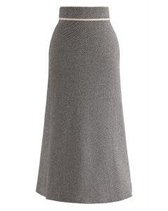 Slant Stripes Knit Midi Skirt in Black