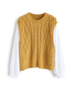 Braid Texture Spliced Sleeves Knit Sweater in Mustard