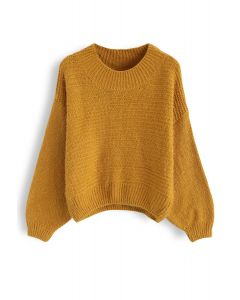 Round Neck Fuzzy Knit Sweater in Mustard
