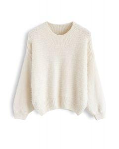 Round Neck Fuzzy Knit Sweater in Cream