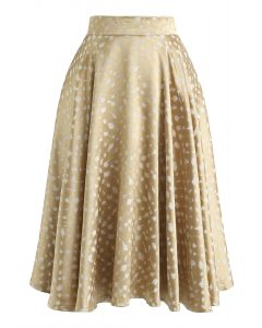 Golden Spot Jacquard Midi Skirt