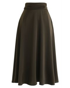 High-Waisted Satin Flare Midi Skirt in Army Green