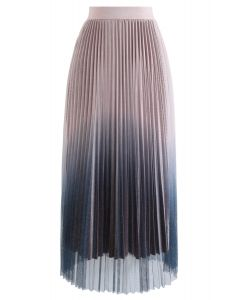 Gradient Shiny Mesh Pleated Skirt in Pink