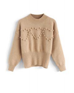 Pom-Pom Heart Knit Sweater in Tan