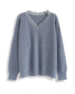 Lacy Neck Ribbed Knit Sweater in Dusty Blue