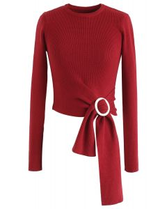 O-Ring Knot Fitted Knit Crop Top in Red