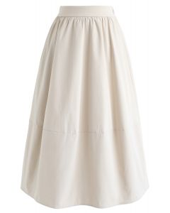 Simple A-Line Midi Skirt in Ivory