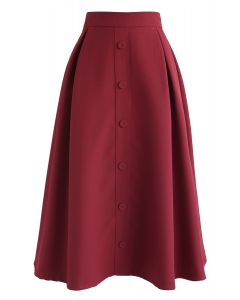 Button Front Trim A-Line Midi Skirt in Red