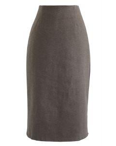 Split Hem Pencil Midi Skirt in Brown