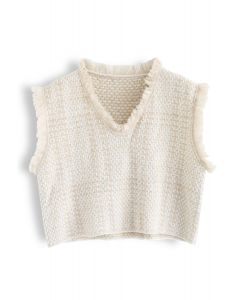Basic Texture Raw Edge Knit Vest in Cream