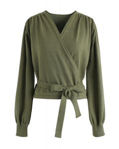 Army Green Bowknot Wrap Knit Crop Top