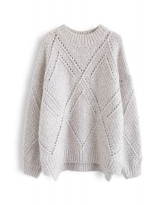 Diamond Hollow Out Oversized Knit Sweater in Ivory