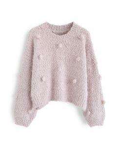 Pom-Pom Decorated Fuzzy Knit Crop Sweater in Pink