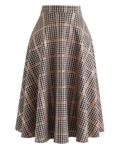 Grid Houndstooth Faux Suede Midi Skirt in Tan