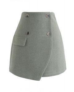 Button Trim Flap Mini Skirt in Green