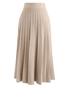 Parallel A-Line Knit Midi Skirt in Sand