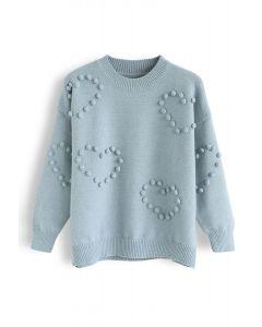Pom-Pom Embellished Knit Sweater in Sea Green