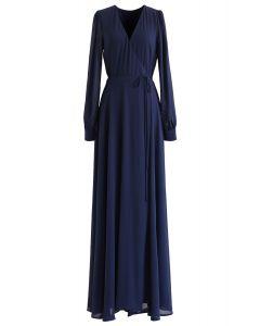 Navy Wrap Chiffon Long Sleeves Maxi Dress