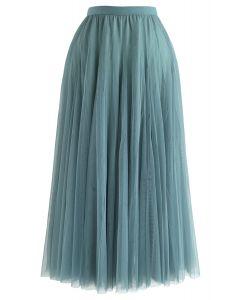 My Secret Garden Tulle Maxi Skirt in Turquoise