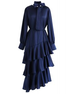 Ruffle Asymmetric Satin Maxi Dress in Navy