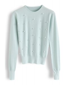 Beads and Pearls Embellished Knit Sweater in Mint