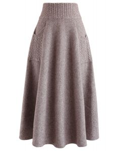 Cable Pockets Knit Midi Skirt in Taupe