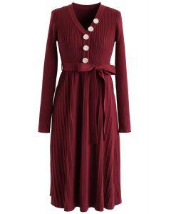 Wine V-Neck Buttoned Pleated Knit Dress