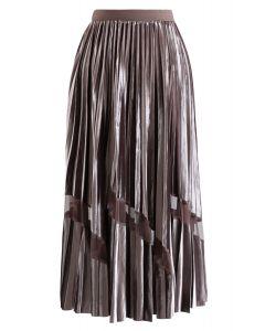 Mesh Inserted Velvet Pleated Maxi Skirt in Brown