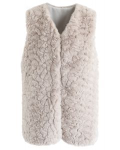 Faux Fur Mid-Length Vest in Sand