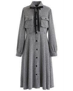 Bowknot Houndstooth Button Down Dress in White