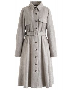 Herringbone Button Down Belted Coat Dress in Sand