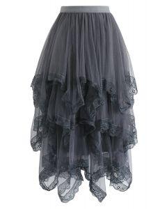 Lace Hem Asymmetric Layered Tulle Skirt in Smoke