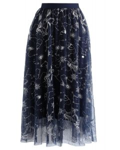 Sequined Embroidered Mesh Tulle Skirt in Navy