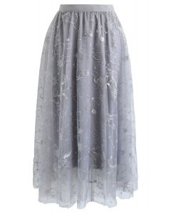 Sequined Embroidered Mesh Tulle Skirt in Grey