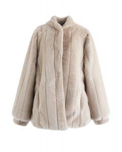 Comfy Faux Fur Coat in Tan