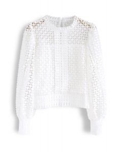Full Crochet Puff Sleeves Crop Top in White
