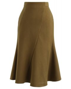 Frill Hem Wool-Blended Skirt in Mustard